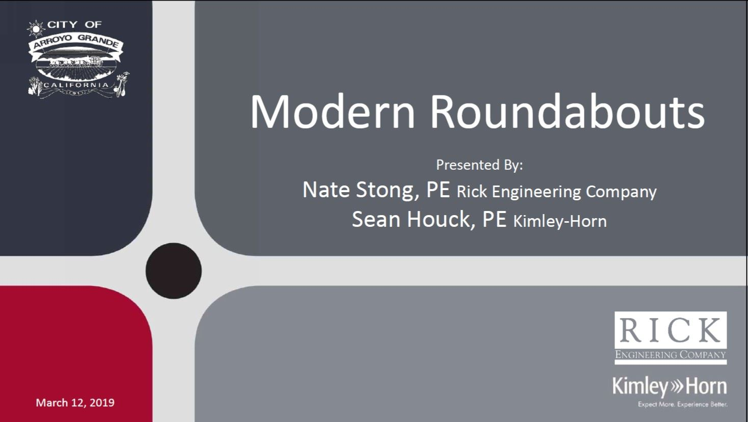 Modern Roundabout PowerPoint 3/12/2019