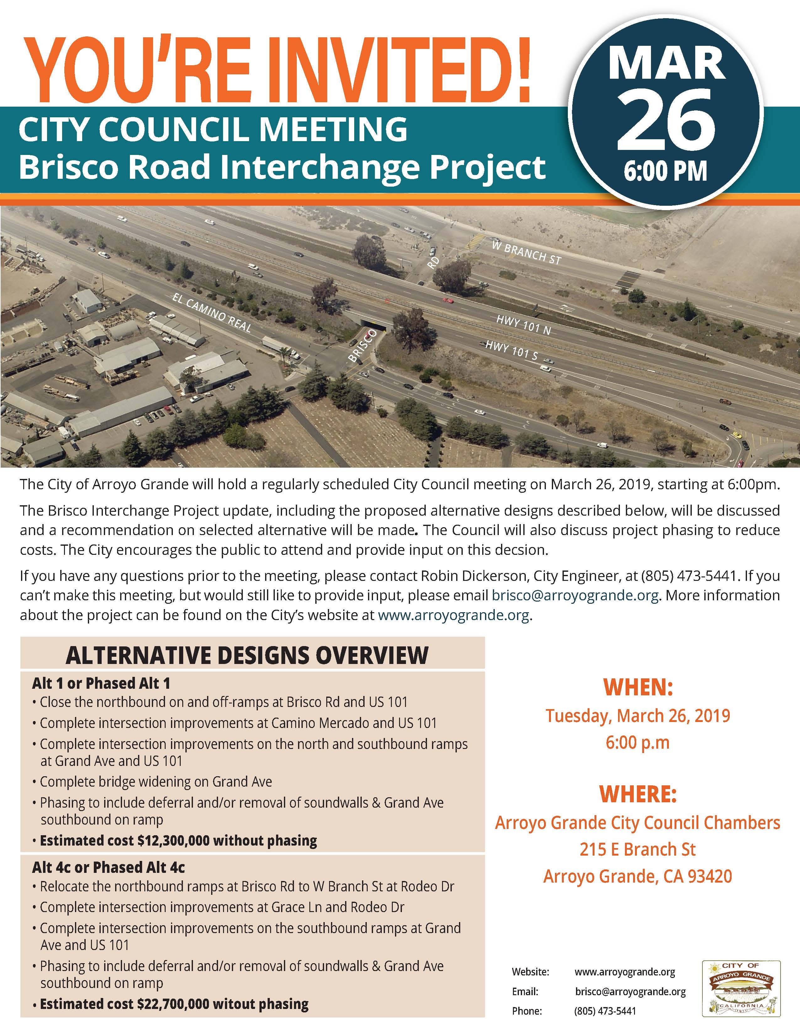 Brisco-Halcyon Road Interchange Modification Project Council Meeting Flyer