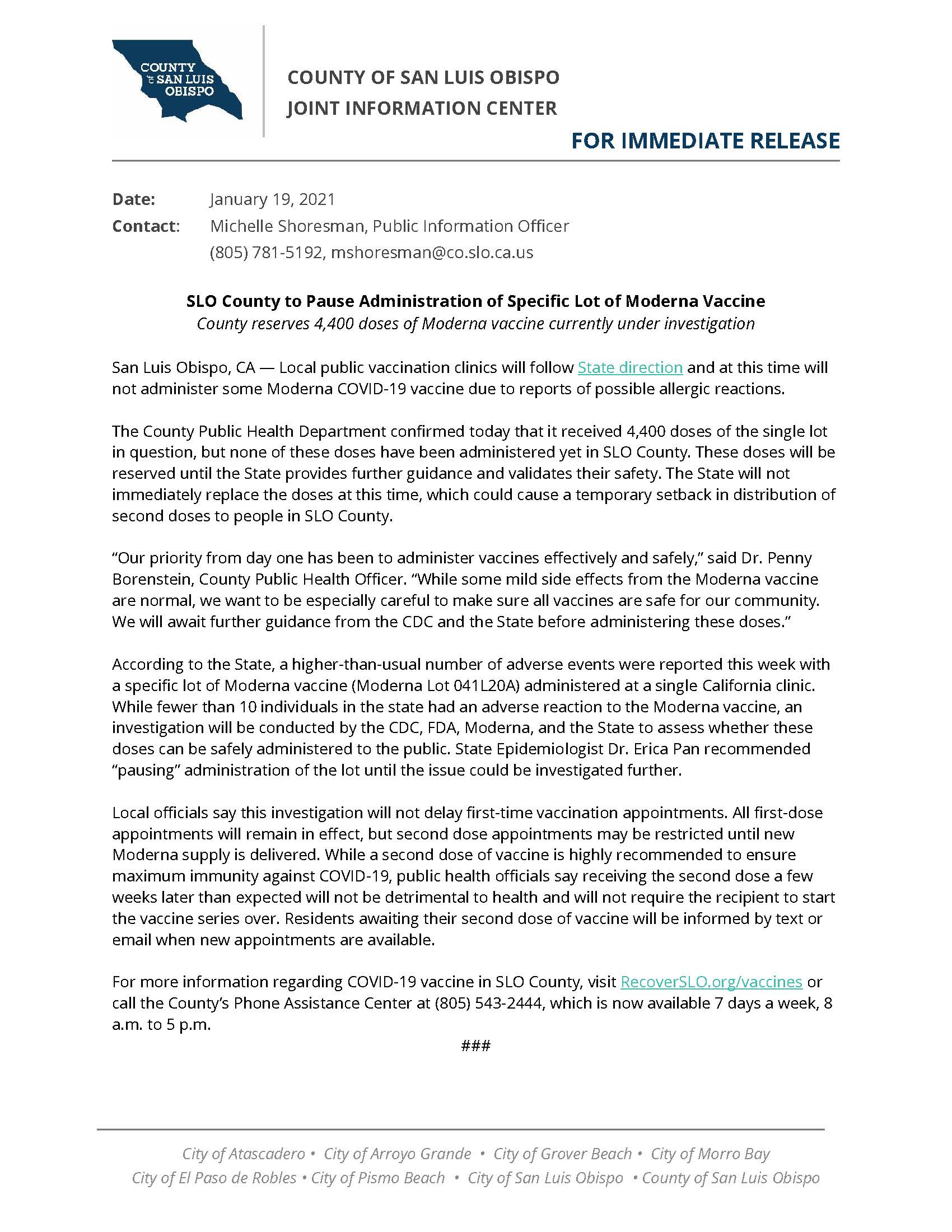 01-19-21 SLO County Will Not Administer Moderna Doses Pending Investigation